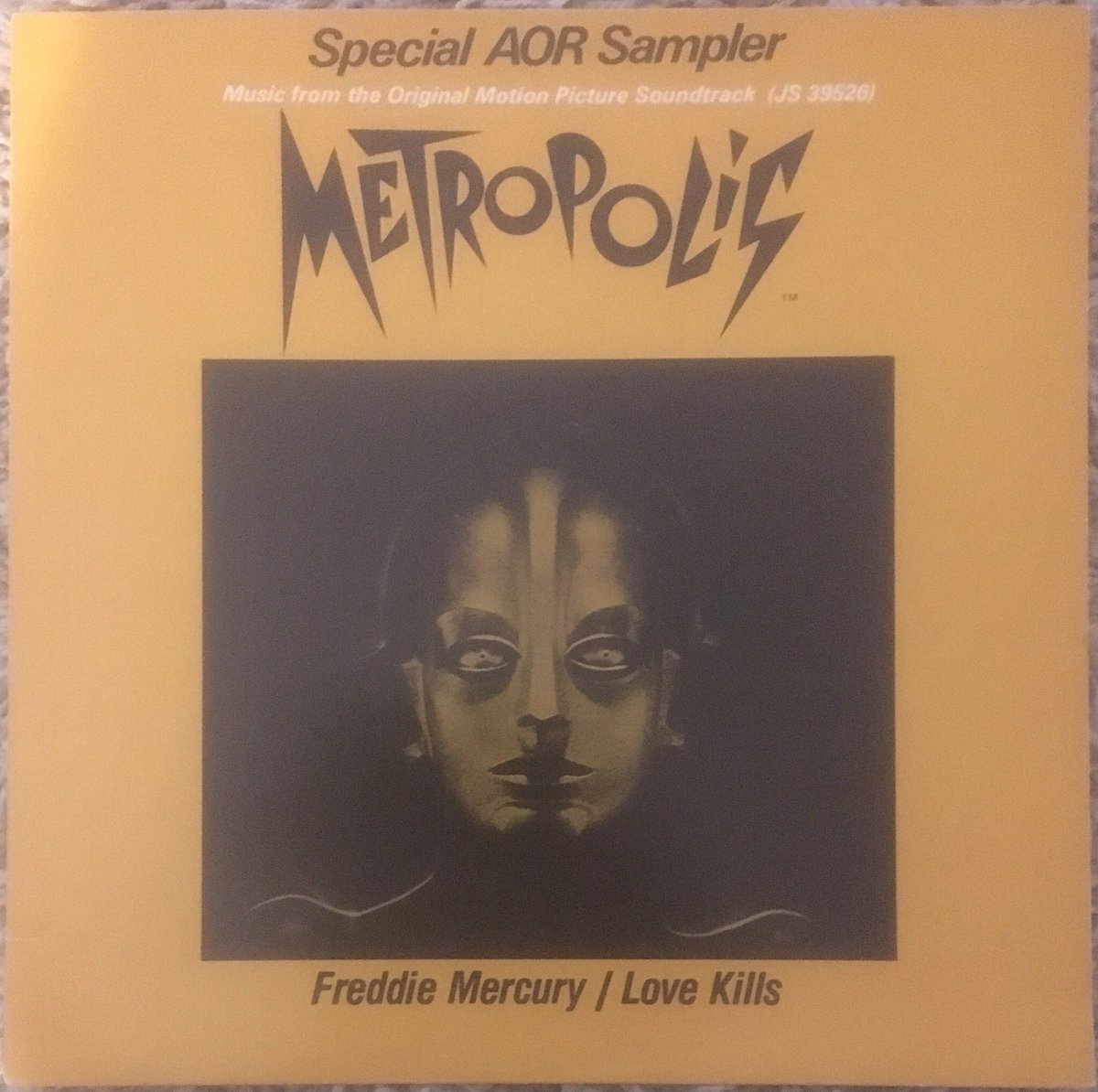 """230/ """"Love Kills"""": 12"""" USA Promo - """"Special AOR Sampler"""". I love this unique #Metropolis picture cover to promote the soundtrack to the film and the single. Same track both sides playing at 33 1/3rd  #Queen #FreddieMercury #BrianMay #JohnDeacon #RogerTaylor #FreddieFriday <br>http://pic.twitter.com/sOjel5BRw8"""