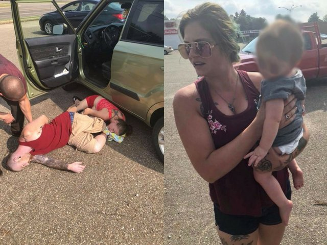 SHOCKING: Photos captured by a man show two parents who apparently overdosed on heroin in an Ohio parking lot outside of an overheated car where a child was rescued.>>>https://t.co/NffGd0wEJQ