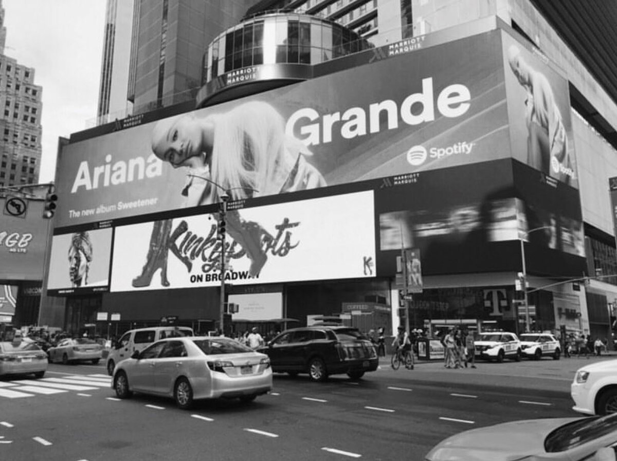 Promotional billboard for @ArianaGrande's new album, 'Sweetener,' in Times Square, New York.<br>http://pic.twitter.com/nl3LeHgyun