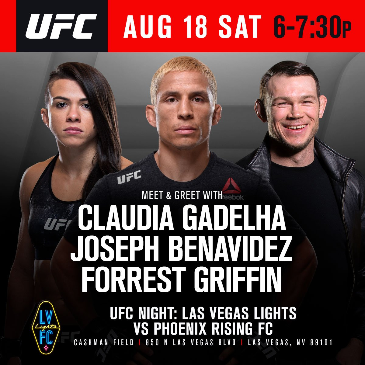 Raise your hand if youre going to UFC night on Saturday? 🙋🙋♂️🙋♂️ Dont miss @ClaudiaGadelha_, @JoeJitsu & @ForrestGriffin at the @LVLightsFC game at Cashman Field! Fun begins at 6pmPT 👉#LVvPHX