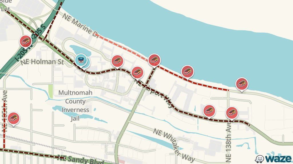 UPDATE: NE Airport Way still jammed. Will add 30m to your drive #PDXtraffic  https://www. waze.com/en/irregular_t raffic?bbox=-122.549,45.562,-122.518,45.571&amp;id=65261831&amp;env=usa&amp;referrer=utm_source=auto_tweets&amp;utm_medium=WazeTrafficpdx &nbsp; … <br>http://pic.twitter.com/xQRelUL1QW