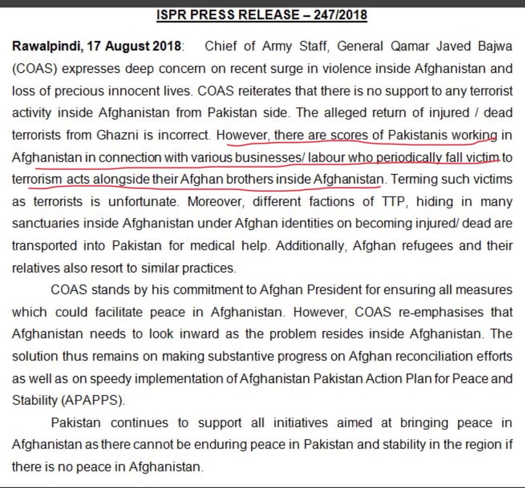 #Pakistan Army chief #COAS accepts that PAKi were killed during #Ghazni attack, but claims they were laborers who went to Ghazni for Eid shopping! If @ashrafghani still trusts PAK either he is too naive or he is mentally complicit, both scenarios are dangerous for Afghanistan.