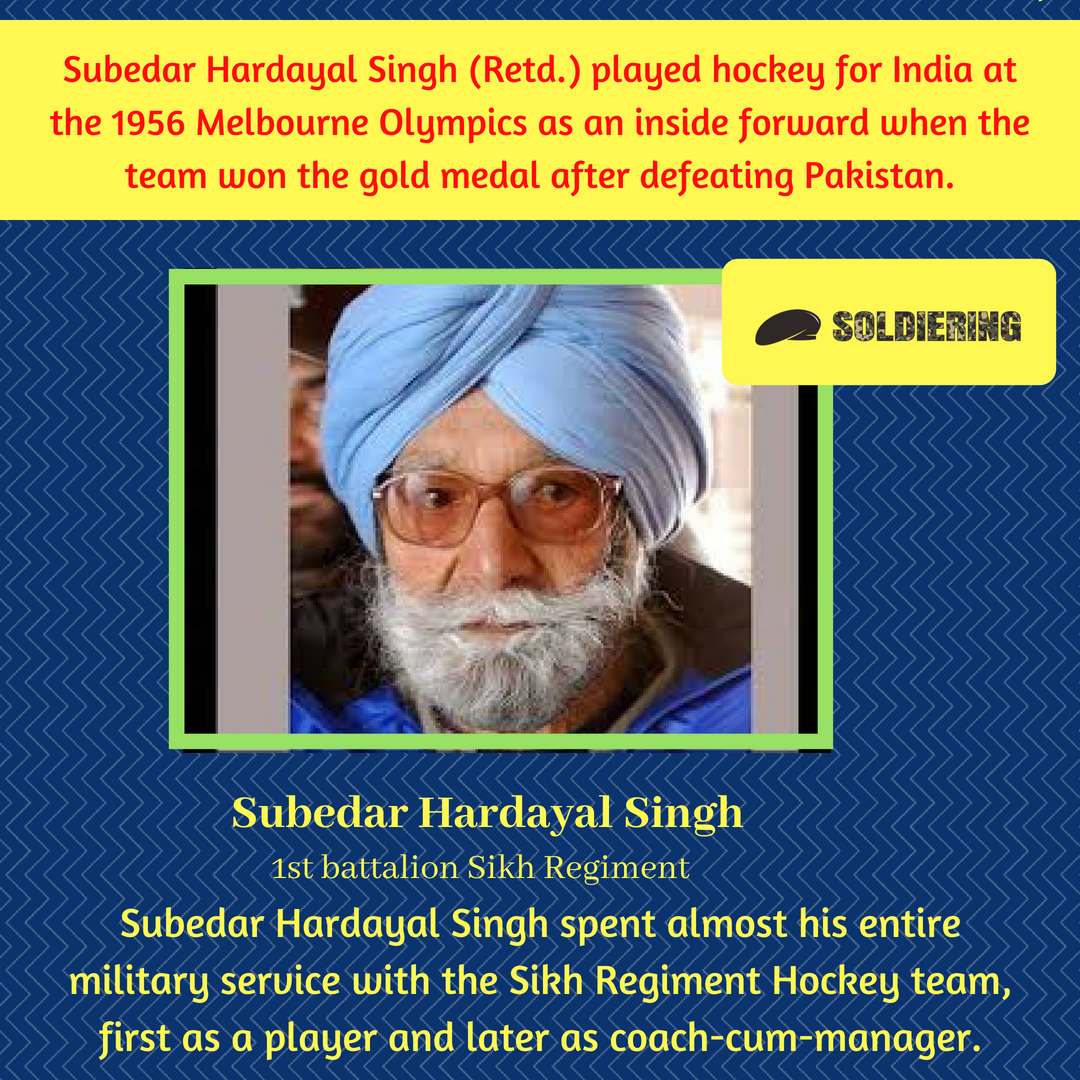Our tribute to legendary Soldier and 1956 Melbourne hockey gold medalist Subedar Hardayal Singh 1st battalion Sikh Regiment who passed away yesterday at Dehradun. Thank you so much for your service and keeping the flag high of our great nation. #SaluteToSoldier #alwaysremember<br>http://pic.twitter.com/AErOrcoqpW