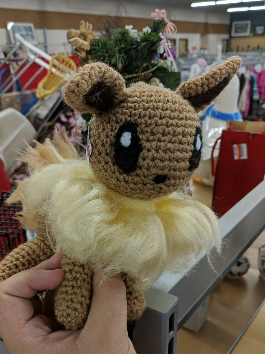 I found this homemade Eevee at a thrift store and honestly it's really cute???
