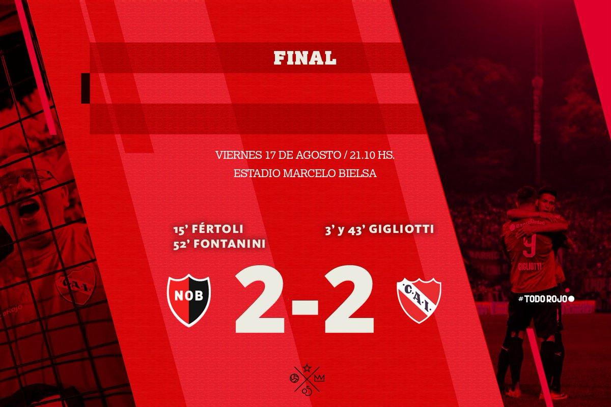 Final del partido @CANOBoficial 2-2 #Independiente Esto recién empieza. A pensar en el martes, Rey. #TodoRojo 🔴