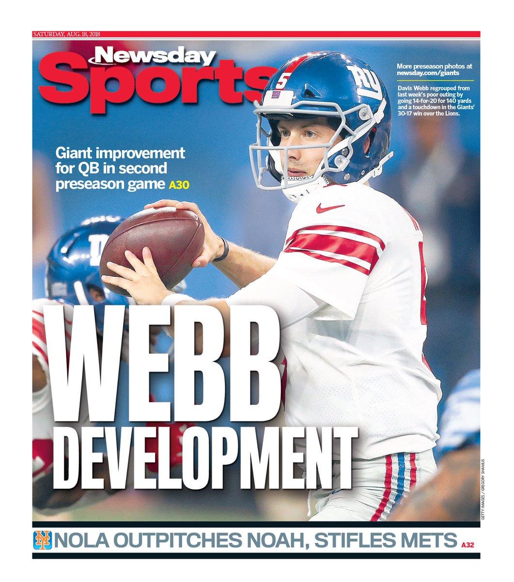 Newsday&#39;s Early Saturday Back Page (Yanks to follow) Davis Webb takes Giant step in second preseason game @NewsdaySports @APSE_sportmedia  @TomRock_Newsday @BobGlauber  #giants #GiantsPride<br>http://pic.twitter.com/K213MkU31h