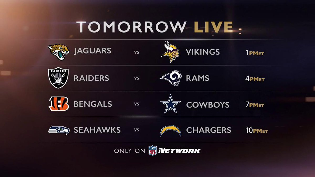 Nfl Network On Twitter Don T Miss The Quadruple Header Tomorrow On Nfl Network
