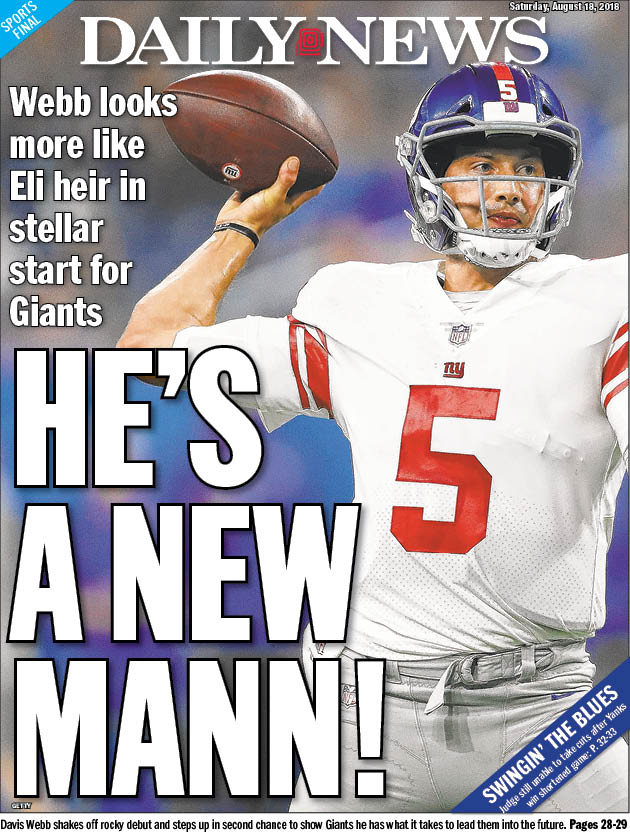 Here&#39;s our @NYDNSports Saturday back page: Davis Webb looks a lot more like Eli&#39;s heir second time around for @Giants (@PLeonardNYDN):  http:// nydn.us/2Bj0VHW  &nbsp;    Aaron Judge still isn&#39;t swinging a bat (@Ackert_Kristie):  https:// nydn.us/2BmBsNF  &nbsp;  <br>http://pic.twitter.com/tIpS62bfem