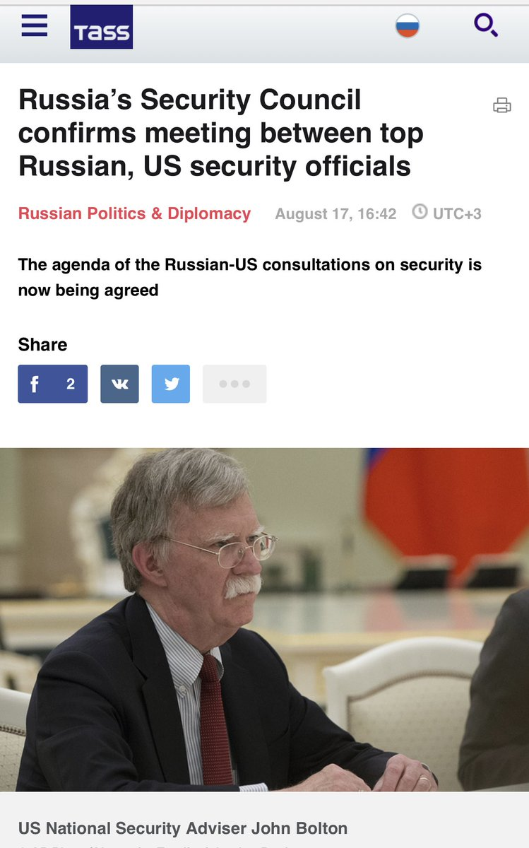 Russia's security council confirms that a meet between Patrushev and Bolton will take place by the end of this month in Geneva. <br>http://pic.twitter.com/70L2XR7VXV