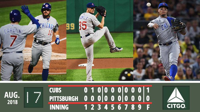 Hamels throws seven scoreless, #Cubs turn seven double plays in shutout win. Recap: #EverybodyIn Photo