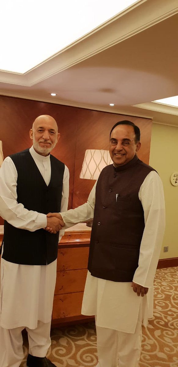 SeniorBJP leade& VHS president Dr Subramanian @Swamy39 met former president of Afghanistan Mr Hamid Karzai. He also invited the Afghan leader to be chief guest for a VHS meet in November 2018.