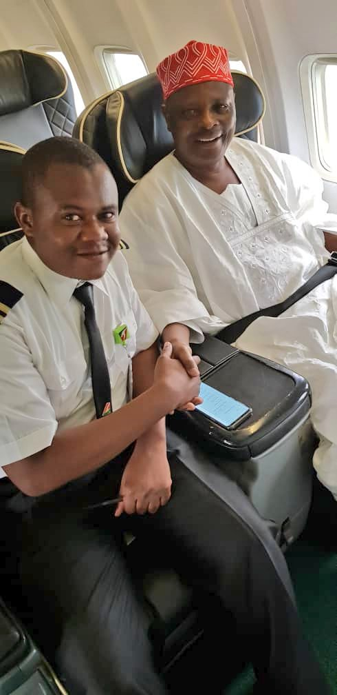 His Excellency @KwankwasoRM and Capt. Aminu Muhammed, one of the 100 pilots he trained during his tenure as Governor of Kano state. Sen Rabiu Musa Kwankwaso is a firm believer of human capital development and it&#39;s results are evident.  #Kwankwasiyya<br>http://pic.twitter.com/2YAk8RIsym