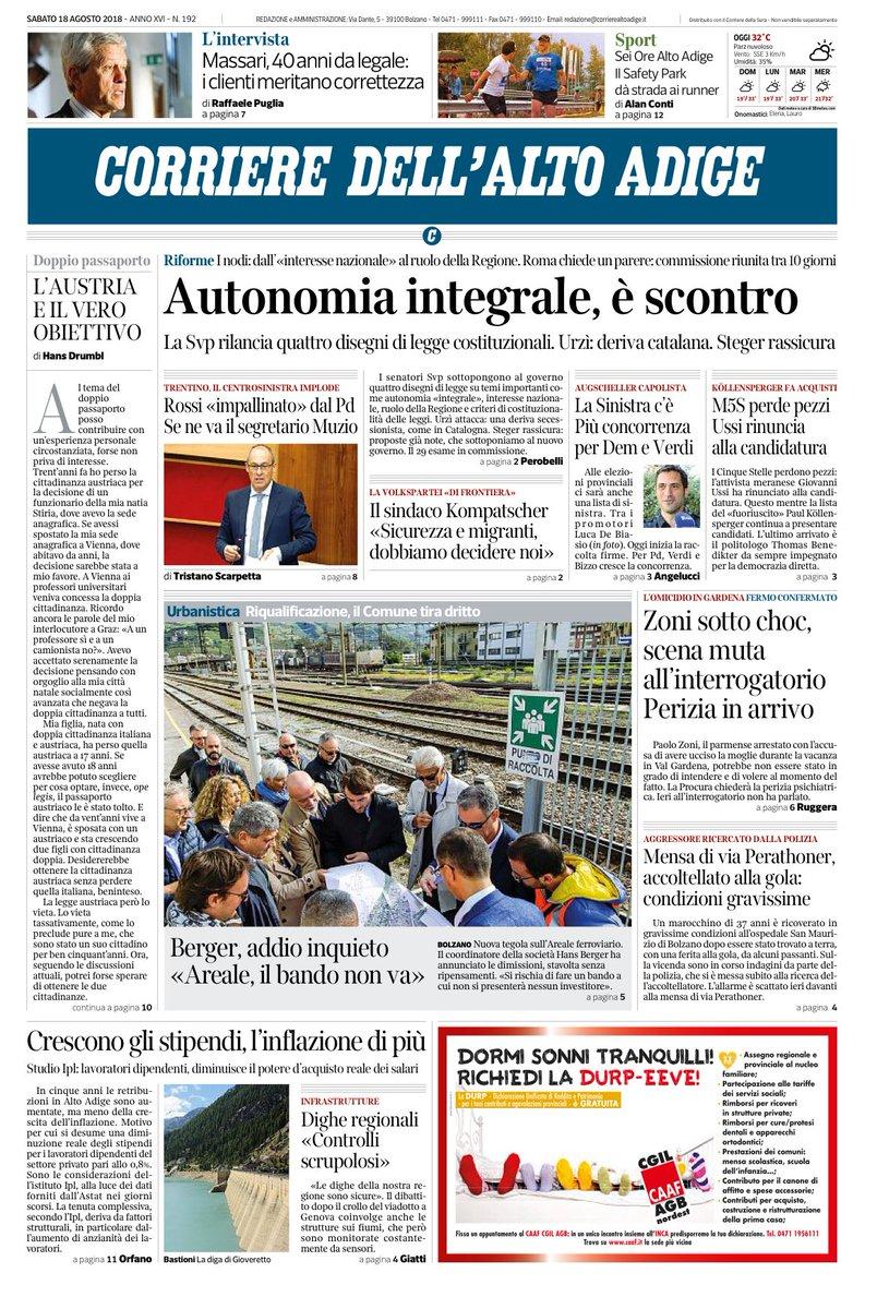A #Roma si gioca un importante partita con quattro disegni di legge costituzionali sull'autonomia integrale di targa Svp. Il Corriere dell\