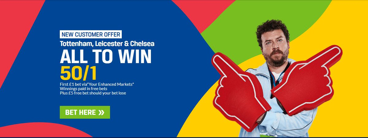 HUGE PL PRICE BOOST   Spurs, Leicester &amp; Chelsea all to win @ 50/1!   LINK   http:// bit.ly/EPLacca  &nbsp;    #BrentfordFC #WAFC #BWFC #DCFC #Swans #PNEFC #BCFC #Rovers #ITFC #UTB #Millwall #ncfc #BristolCity #NFFC #AVFC #hcafc #LUFC #SCFC #swfc #ReadingFC #sufc #WBA #QPR #rufc<br>http://pic.twitter.com/jQYzM9ZDnQ