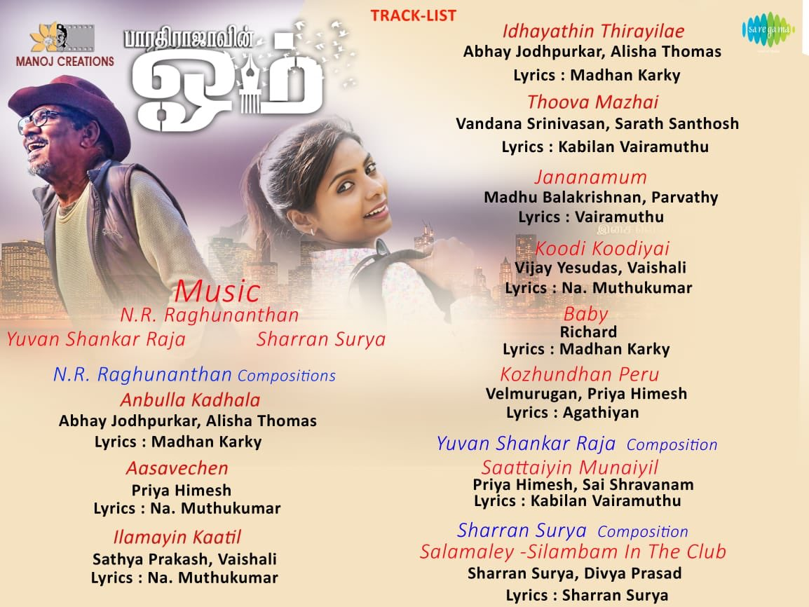 #Om Was a rainbow experience working on Thoova Mazhai Song. N R Rahnanthan at his best. Soulful album on the way.. @NRRaghunanthan @saregamaglobal @onlynikil @offBharathiraja @madhankarky @vairamuthu