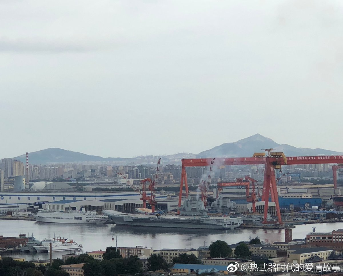 Latest news from the Type 002 carrier at Dalian ... seems as if again an engine test was done. <br>http://pic.twitter.com/Q8b2GpToQm