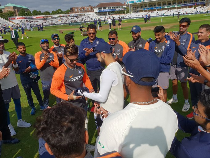 Proud moment for young Rishabh Pant as he becomes the 291st player to represent #TeamIndia in Test cricket. #ENGvIND Photo