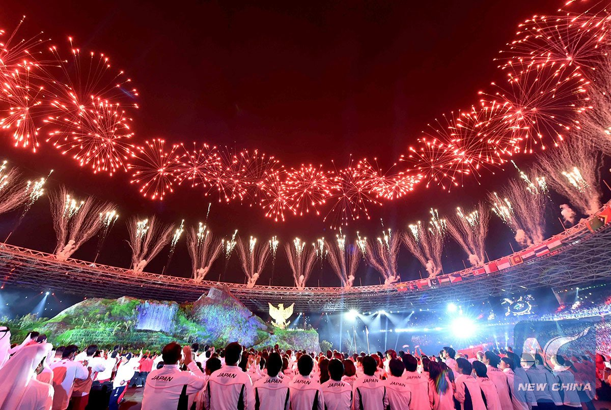 Opening ceremony of #AsianGames2018 lit by dazzling fireworks