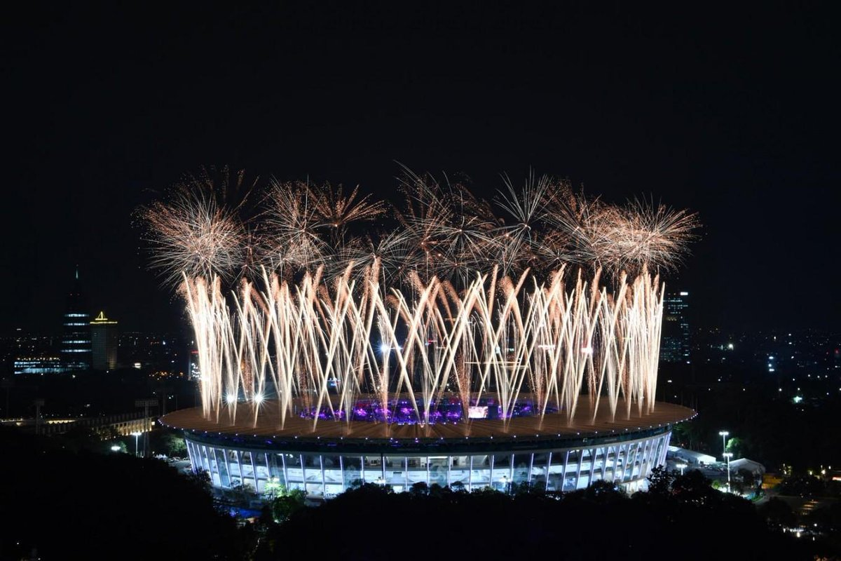A fireworks display marks the opening of the 18th Asian Games at Gelora Bung Karno Stadium in Jakarta on Saturday night. ( Courtesy of INASGOC/Widodo S Jusuf)  #OpeningCeremonyAsianGames2018 #AsianGames2018 #EnergyofAsia #JakpostAsianGames2018