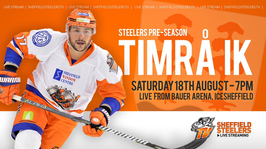 If you can&#39;t make it IceSheffield today for pre-season action against @timra_ik then Steelers TV has you covered with the Live Stream.  Warm-up from 6.20pm, coverage with @JJFearnley and Ron Shudra from 7pm.   Purchase now at  http:// sheffieldsteelers.tv  &nbsp;  <br>http://pic.twitter.com/ijOtXUuICQ