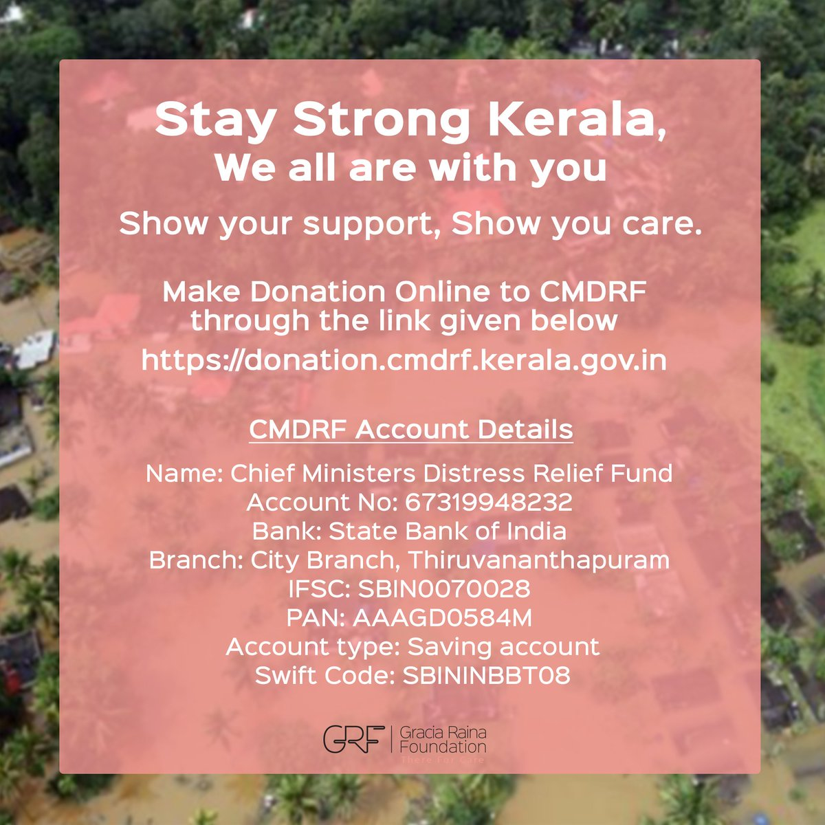 Stay Strong Kerala! We all are with you! We request you all to do your bit and support people of Kerala in this extremely terrible time. donation.cmdrf.kerala.gov.in #KeralaReliefFunds #StandwithKerala #KeralaFloods #KeralaSOS @CMOKerala