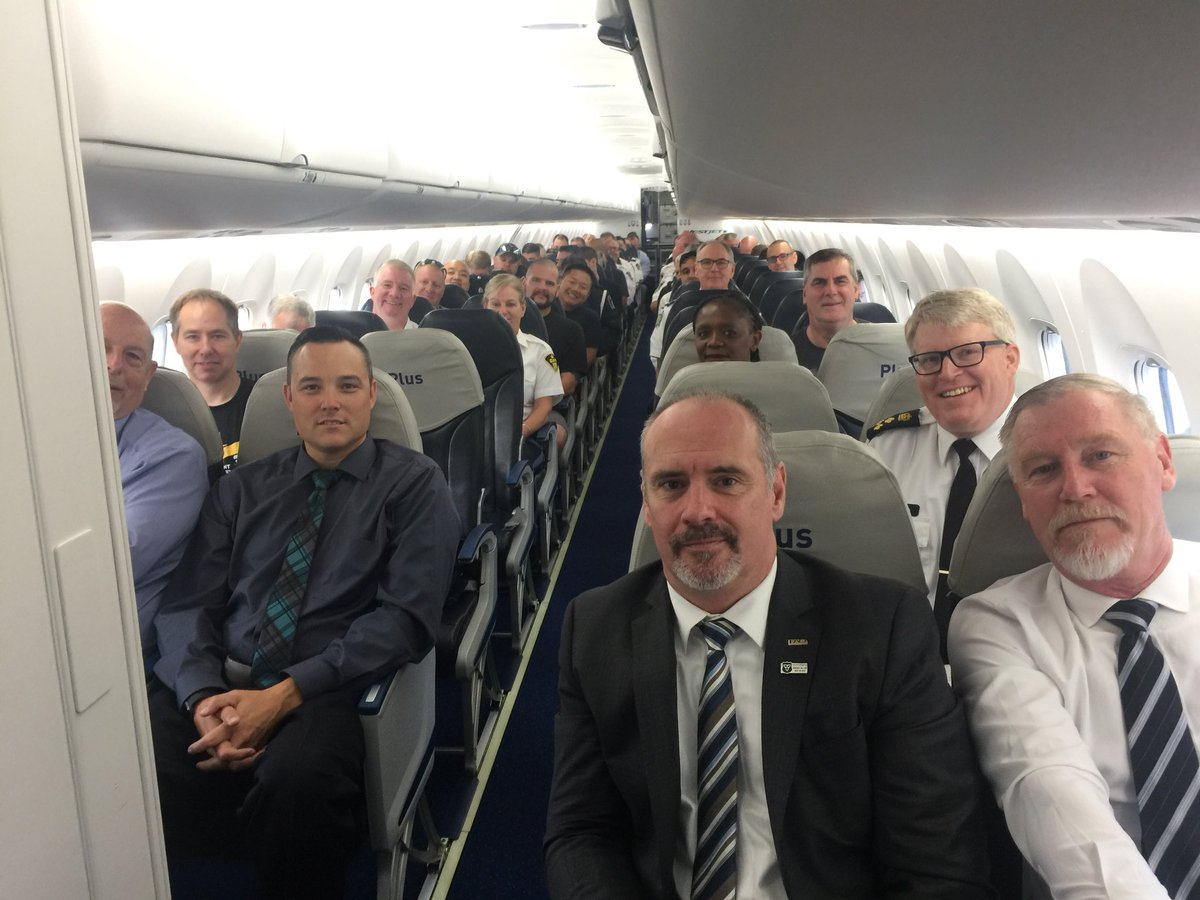 Heading to Fredericton with 70 police officers in @PoliceAssocON chartered flight to pay respects to our fallen comrades @CityFredPolice Huge thank you to @WestJet for getting us this flight<br>http://pic.twitter.com/iTYZAHtmZe