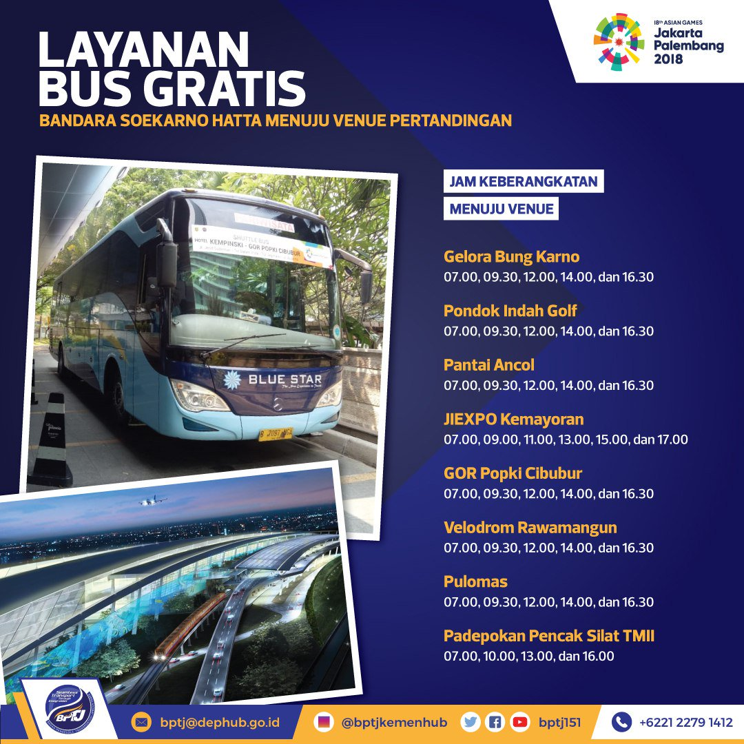 Layanan Bus Gratis Asian games 2018 - Asian Para Games 2018