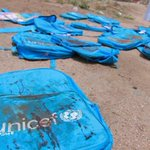 Bloodied schoolbags belonging to children who never came home after an airstrike by the Saudi-led coalition #Yemen.  At least 33 children were killed. Where does Saudi Arabia get most of its arms?  From Britain and the US.