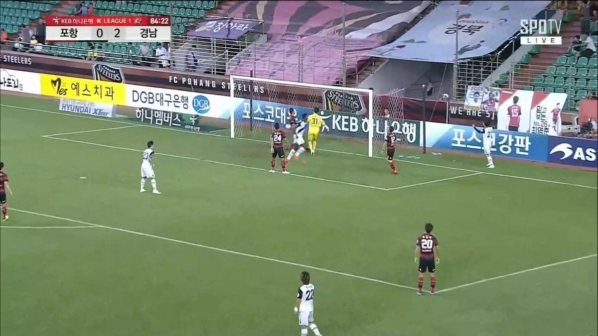 #KLeague Saturday: Pohang Steelers 0-3 Gyeongnam FC  Marcão completes his hat-trick with another tap-in. 84mins #RightPlaceRightTime<br>http://pic.twitter.com/KCOMdszCVi