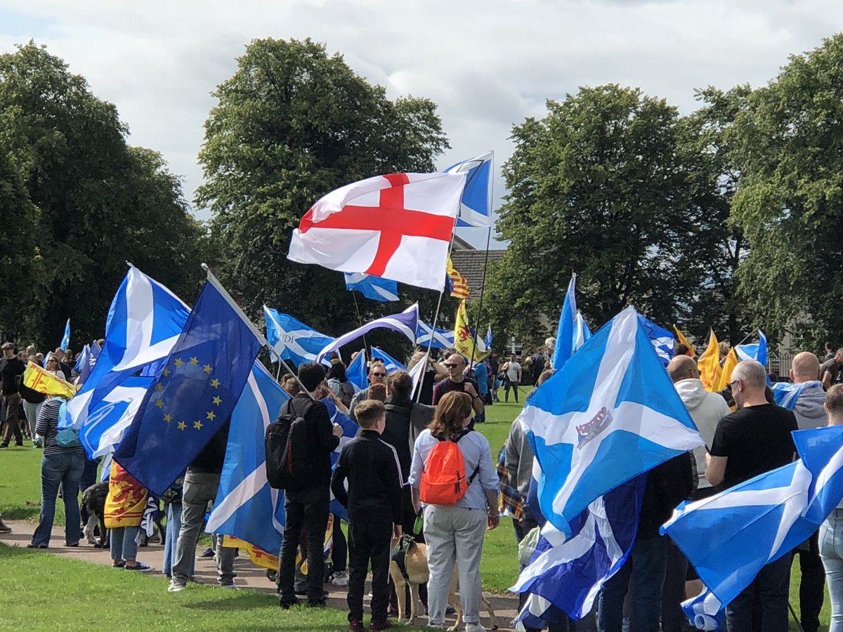 England and EU flag is a sea of saltires