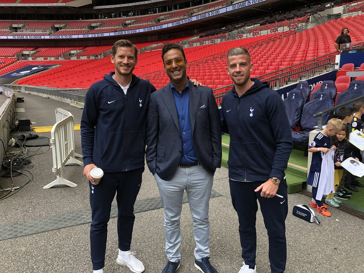 With the big @SpursOfficial boys at Wembley @wembleystadium @AFCAjax team mates!! #COYS