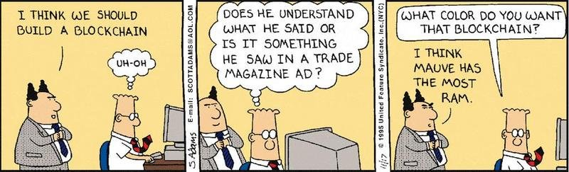 Few companies understand the truly disruptive potential of blockchain technology. One of my favorite blockchain cartoons: who doesnt love Dilbert? #blockchain #crypto #fintech #disruption