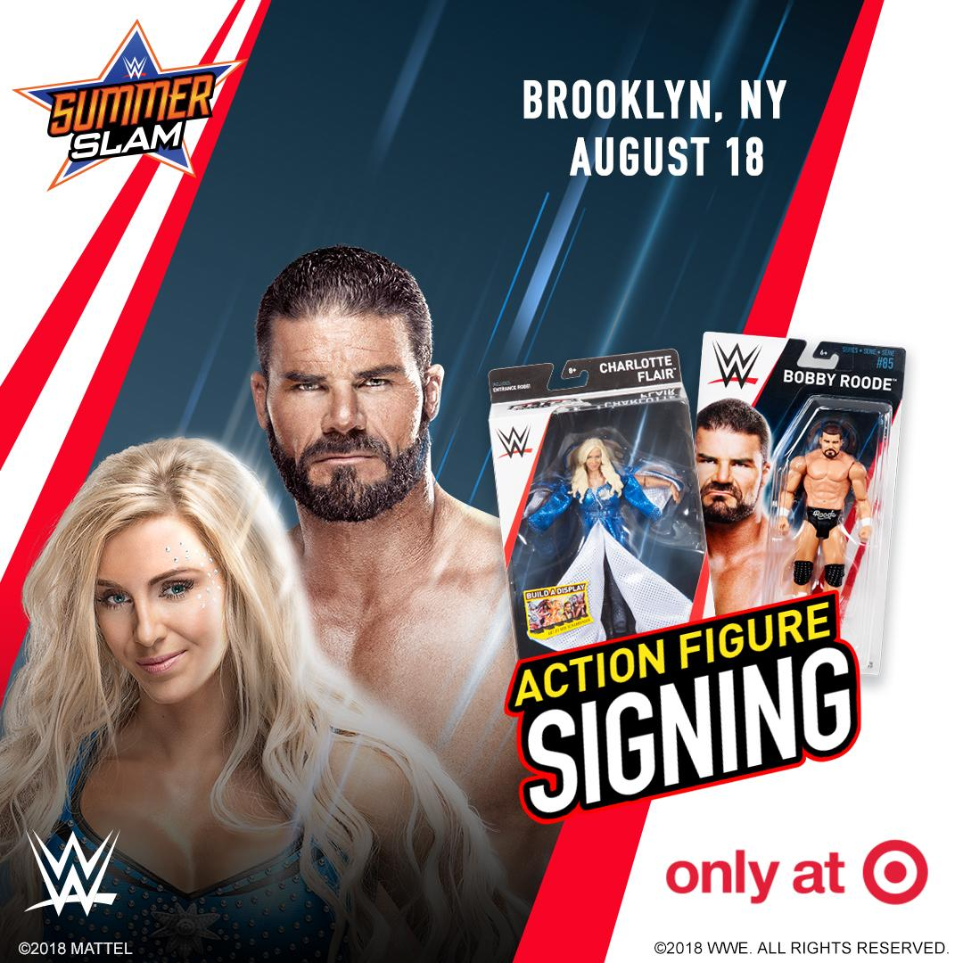 The first 250 guests who purchase any @WWE action figure will get to meet Superstars @MsCharlotteWWE and @REALBobbyRoode at the Brooklyn @Target (139 Flatbush Ave.) TODAY from 11 a.m.-1 p.m. #WWE #WWEMattel