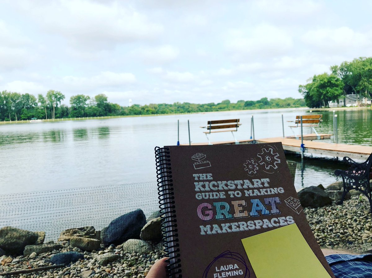 A little reading on the riverside this morning! #D100Inspires @LFlemingEDU #STEAM