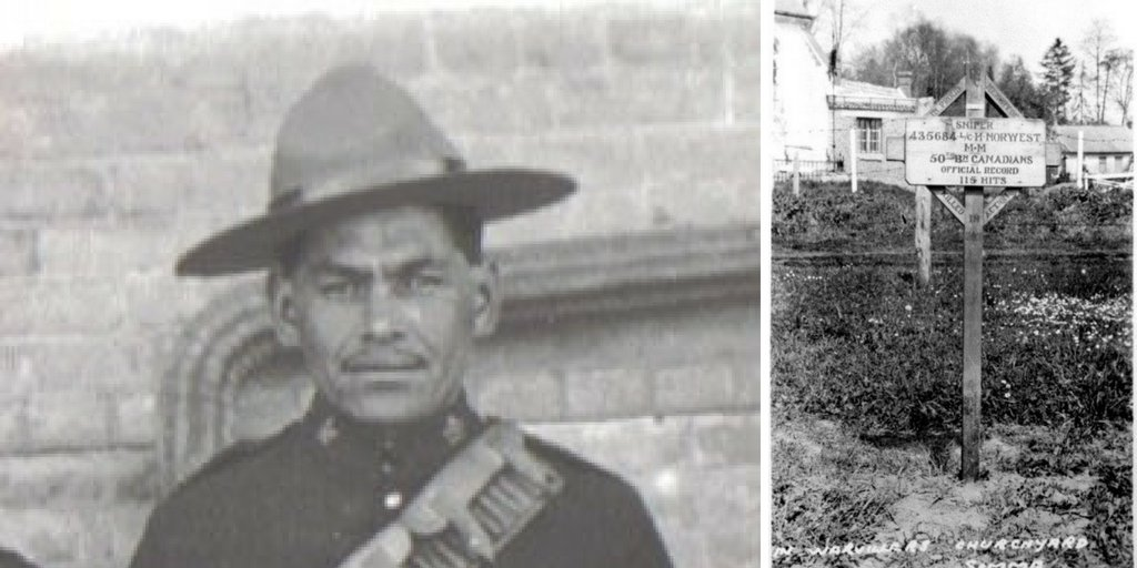 """CommonwealthWarGraves on Twitter: """"Private Henry Norwest, of Métis French-Cree ancestry, would became one of the most famous snipers of #WW1, with 115 confirmed kills. However 100 years ago today would be killed"""