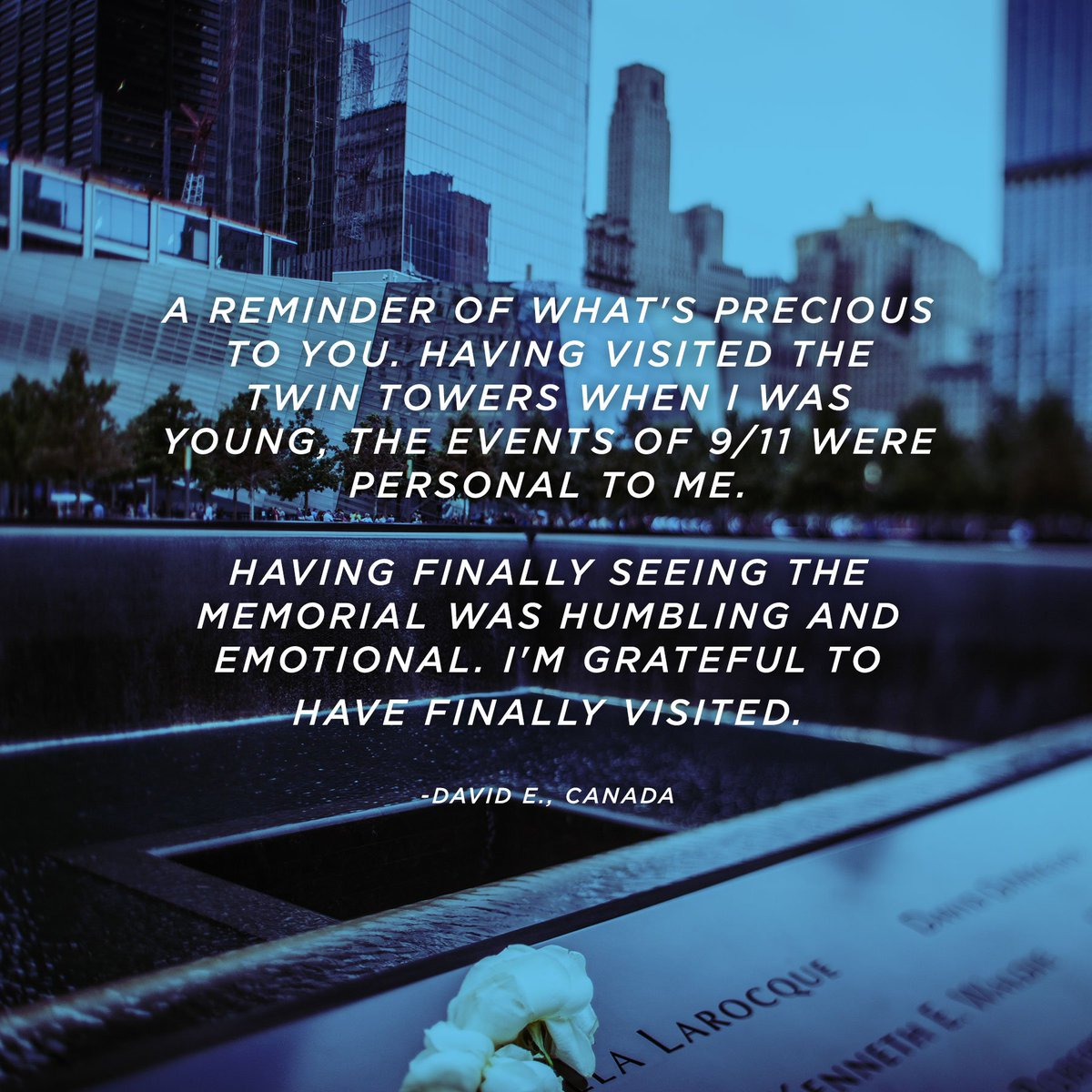 A day that lives in our collective memories, forever remembered. https://t.co/GDzsWZ96nu  #911Memorial #911Museum