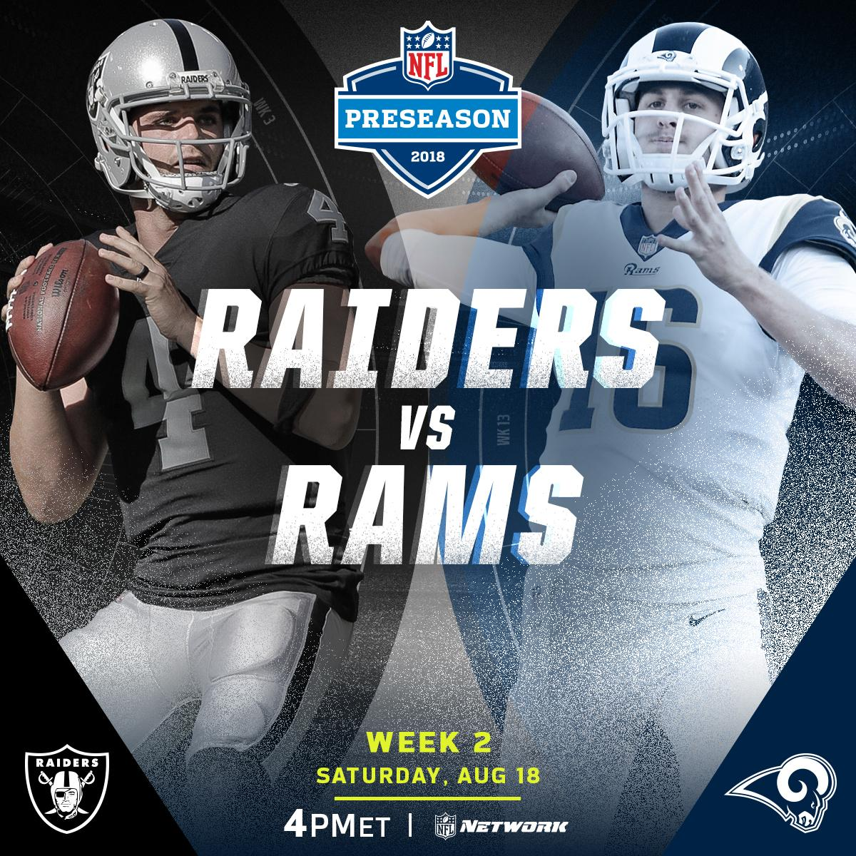 .@RamsNFL. @Raiders.  ��: TONIGHT on @nflnetwork (4PM ET) #LARvsOAK https://t.co/oMcUG8mCse