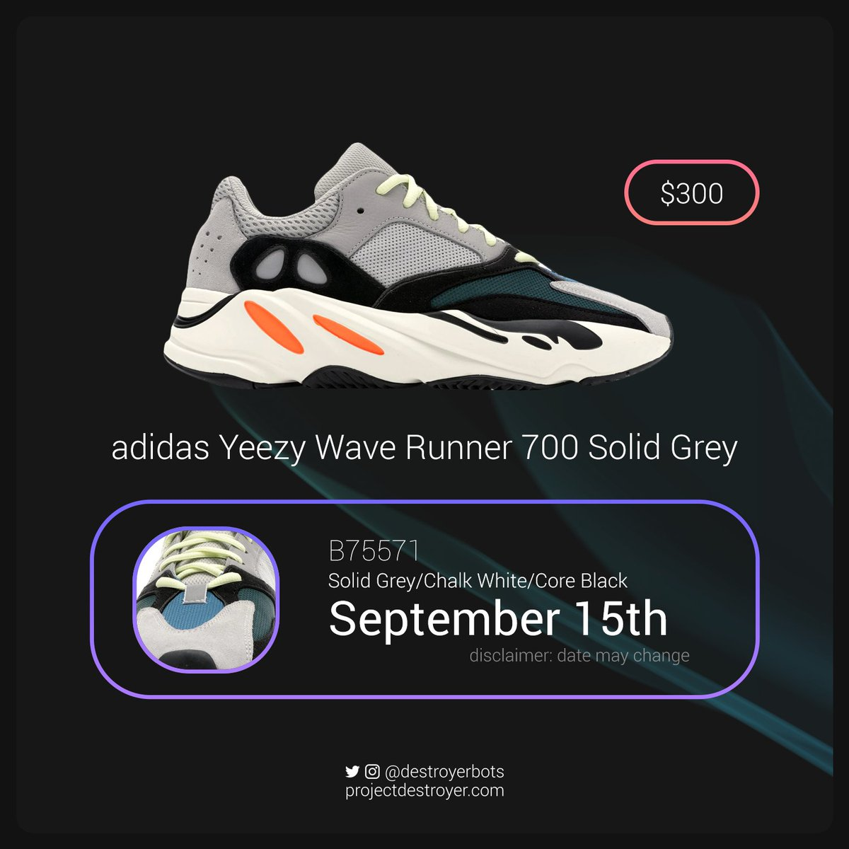 11a28cc89 There has been an announcement recently stating the Yeezy 700 Wave Runners  have been rescheduled for a release date of September 15th.