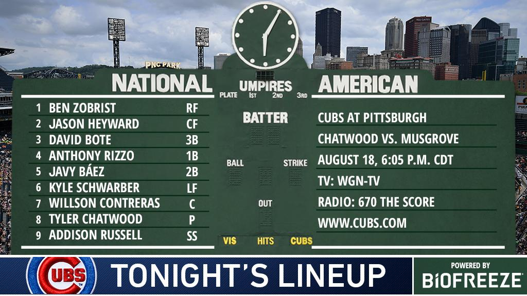 Here is tonight's #Cubs starting lineup.  Game preview: https://t.co/P1KF8qYIyZ #EverybodyIn https://t.co/nFKwmYXiGz