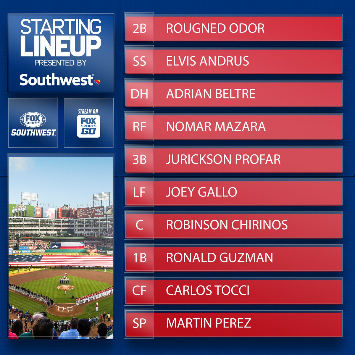 Adrian Beltre is back in the @Rangers lineup brought to you by @SouthwestAir.  #TexasRangers | #SouthwestAirlines