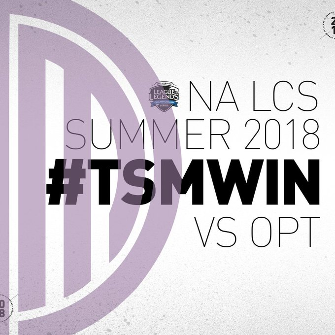 .@TSM with a clean win over @OpTicLoL giving up ZERO kills and only one tower in this matchup #NALCS #TSMWIN Foto