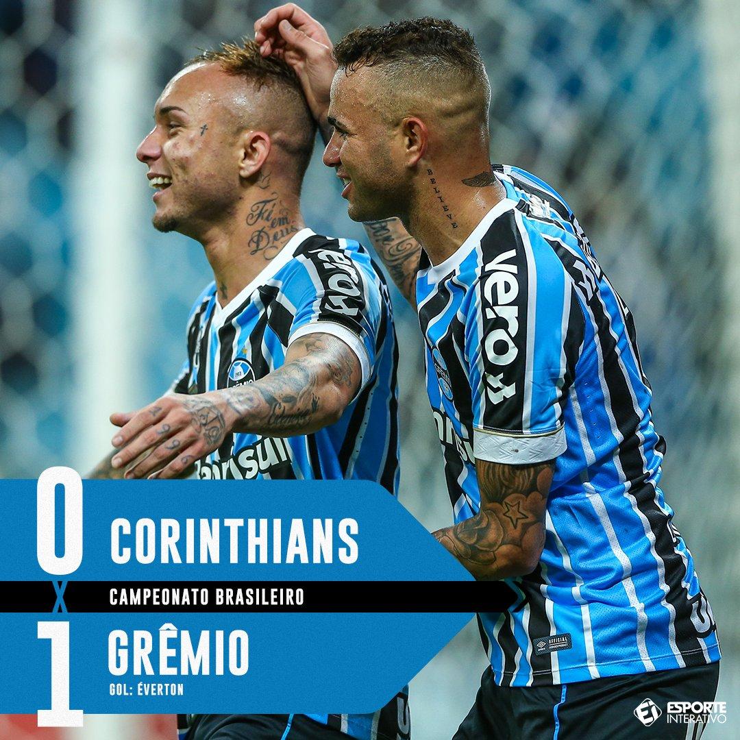 Fim de jogo! Com gol do convocado Éverton, o Grêmio superou o Corinthians em Itaquera! #CORxGRE https://t.co/P3NyEjnQMX