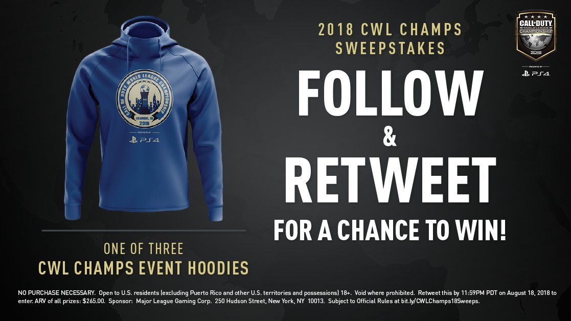 2018 CWL Champs Sweepstakes: Follow and RT for a chance to win a CWL Champs hoodie!  Must RT by 11:59PM PT August 18. Rules: https://t.co/C1t5lU97t3 #CWLPS4 | #CWLChamps