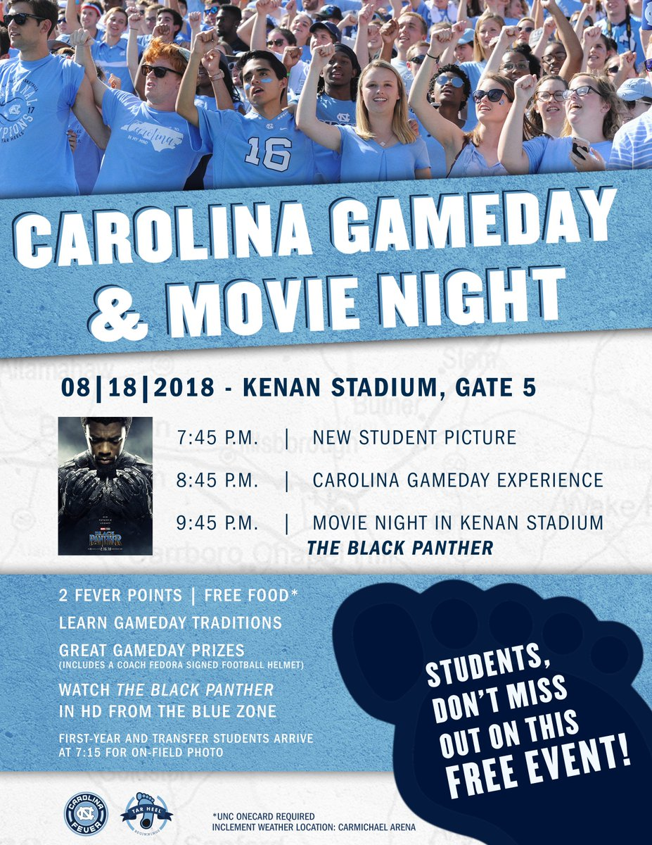 A #UNCWOW18 cant-miss event! Join fellow Tar Heels to learn game day traditions, take your new student pic and stay late for a screening of @theblackpanther! https://t.co/dfsCICtFIt