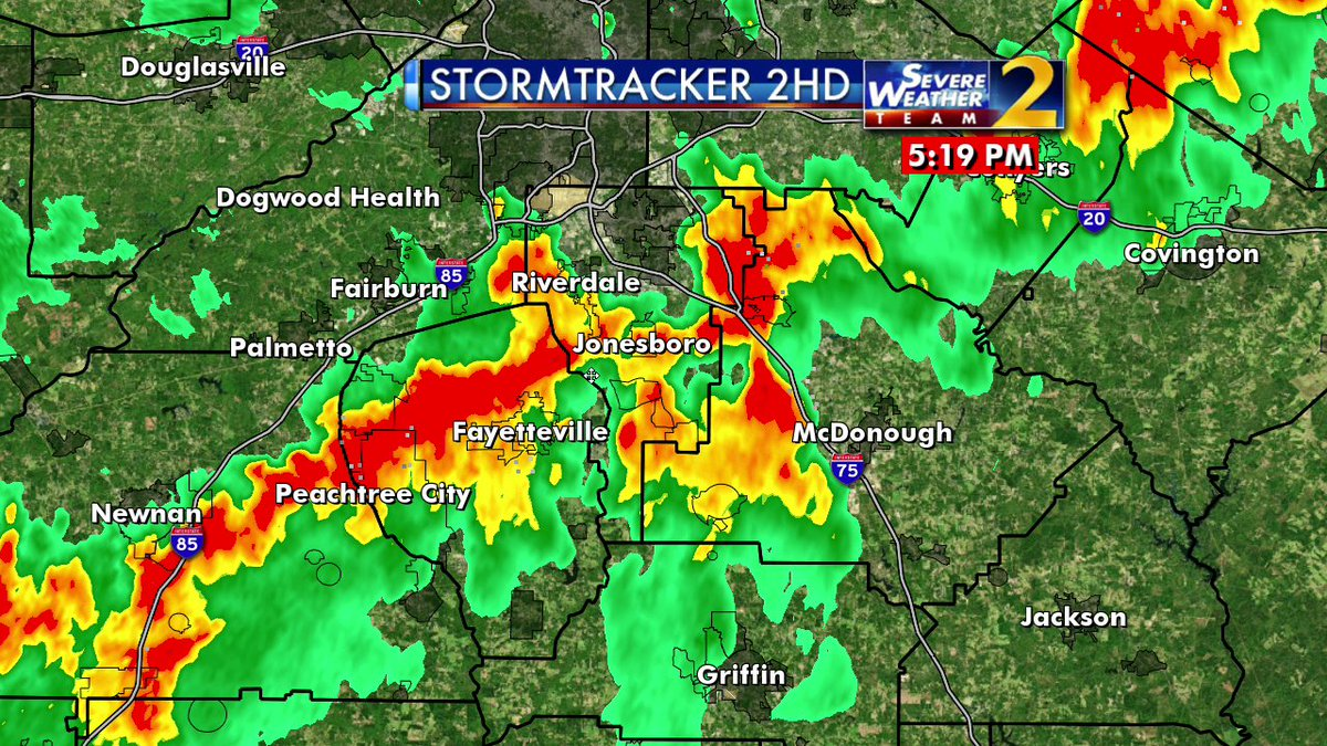 40 mph gusts, intense lightning hitting Peachtree City now, moving into Fayetteville, across Clayton and headed toward McDonough. Heads up!