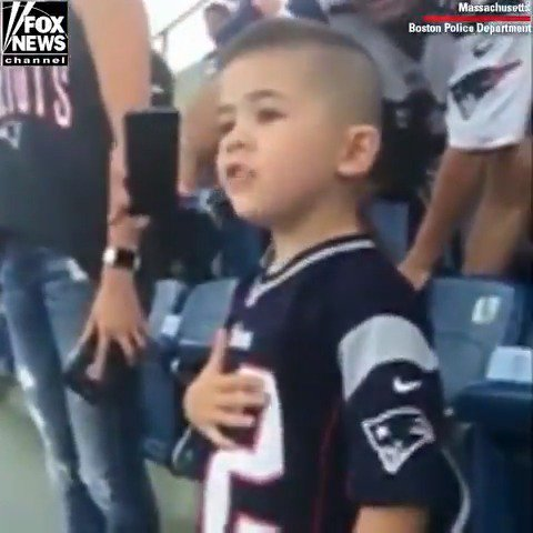 The son of two @bostonpolice officers sang from the bottom of his heart during the national anthem ahead of the New England @Patriots preseason game. #ProudAmerican