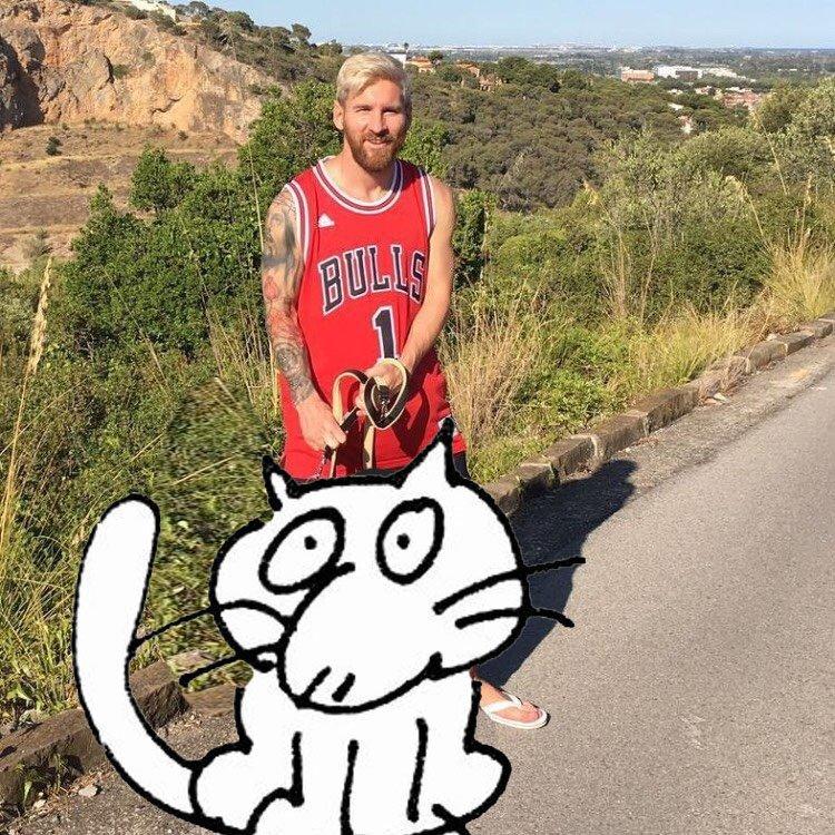 Con Messi no hay gato encerrado. Obra original de la gran @DolorsBoatella