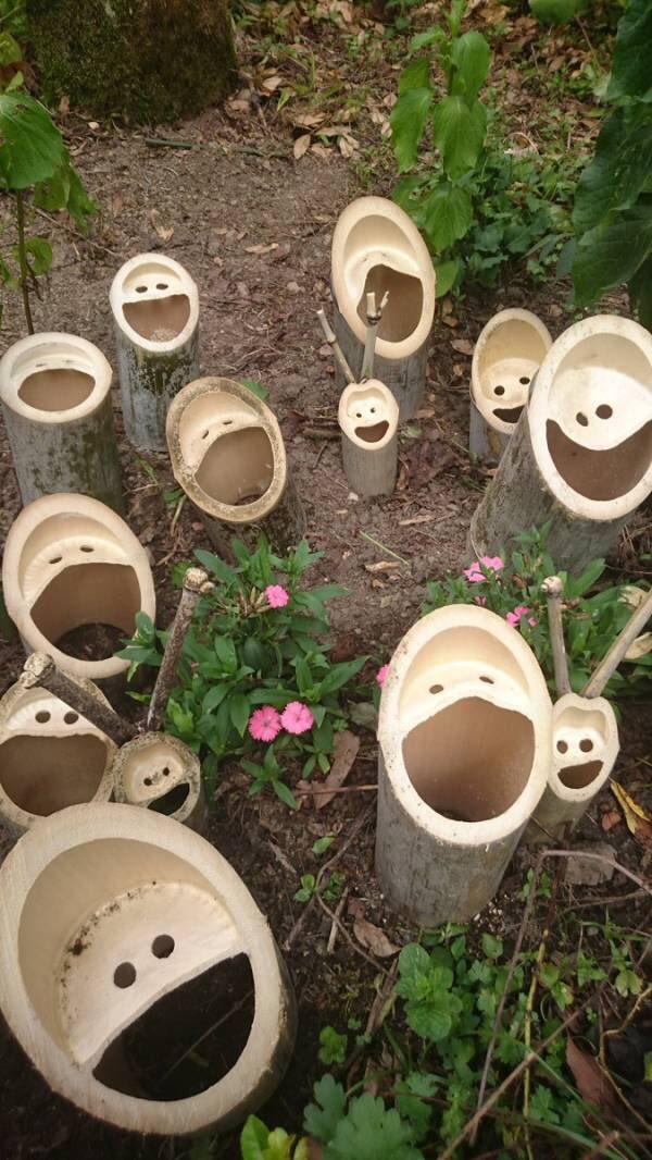 なんだか楽しそうな竹の断面!でもここまで集まってるとちょっと怖いかもw