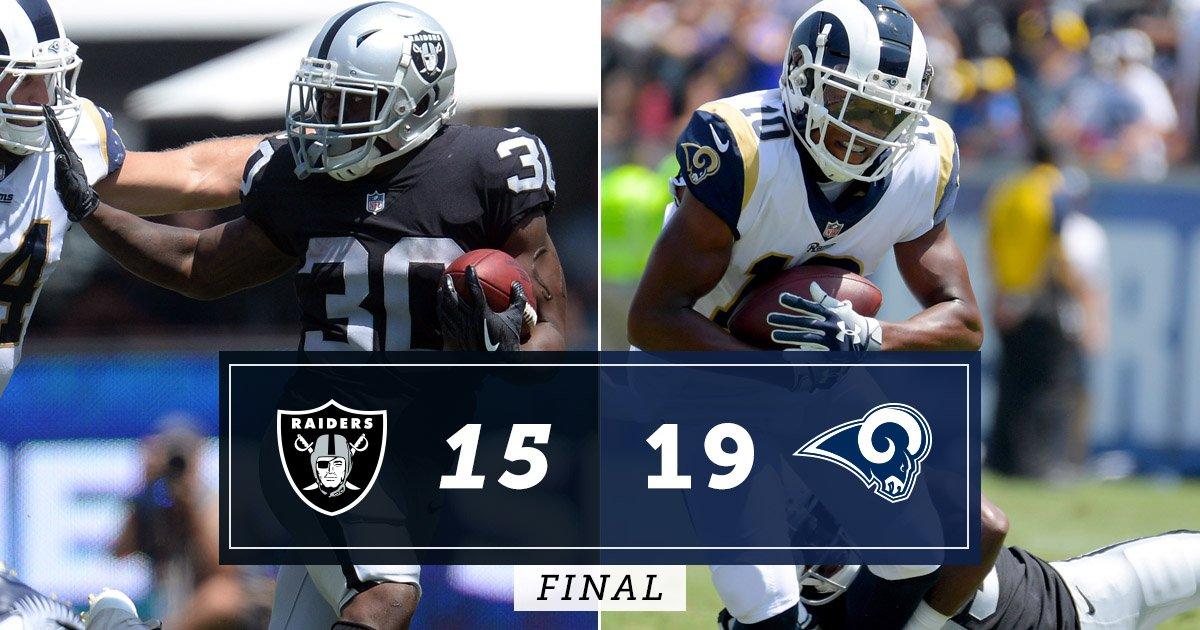 FINAL: @RamsNFL 19, @Raiders 15 bit.ly/2L5PtPp