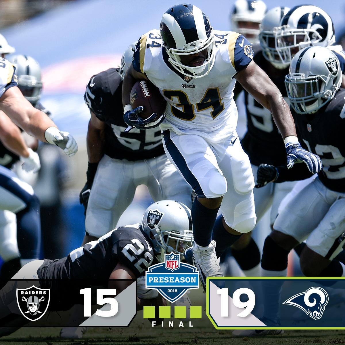 FINAL: The @RamsNFL get a W!  #OAKvsLAR #NFLPreseason https://t.co/y8xSCREY3p